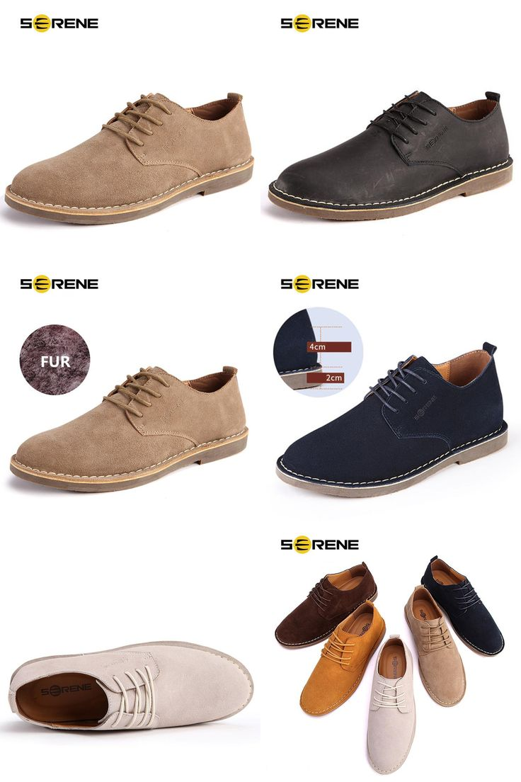 [Visit to Buy] SERENE Band 2017 Men Shoes Plus Size 38~46 Suede Leather Increased High Men Lace-up Casual Loafers Business Desert Shoe 5 Colors #Advertisement