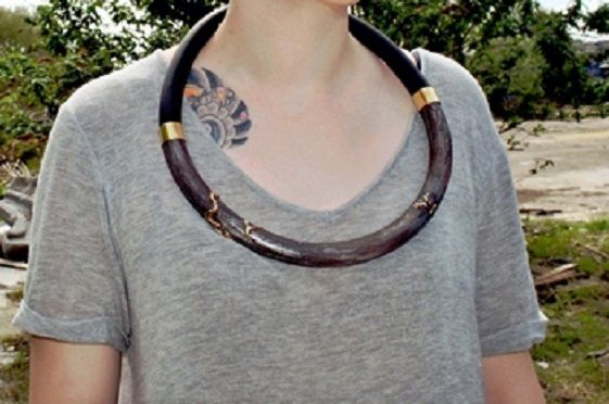 JOANNA WITCHER 'Urban Degeneration' neckpiece in etched brass and rubber: