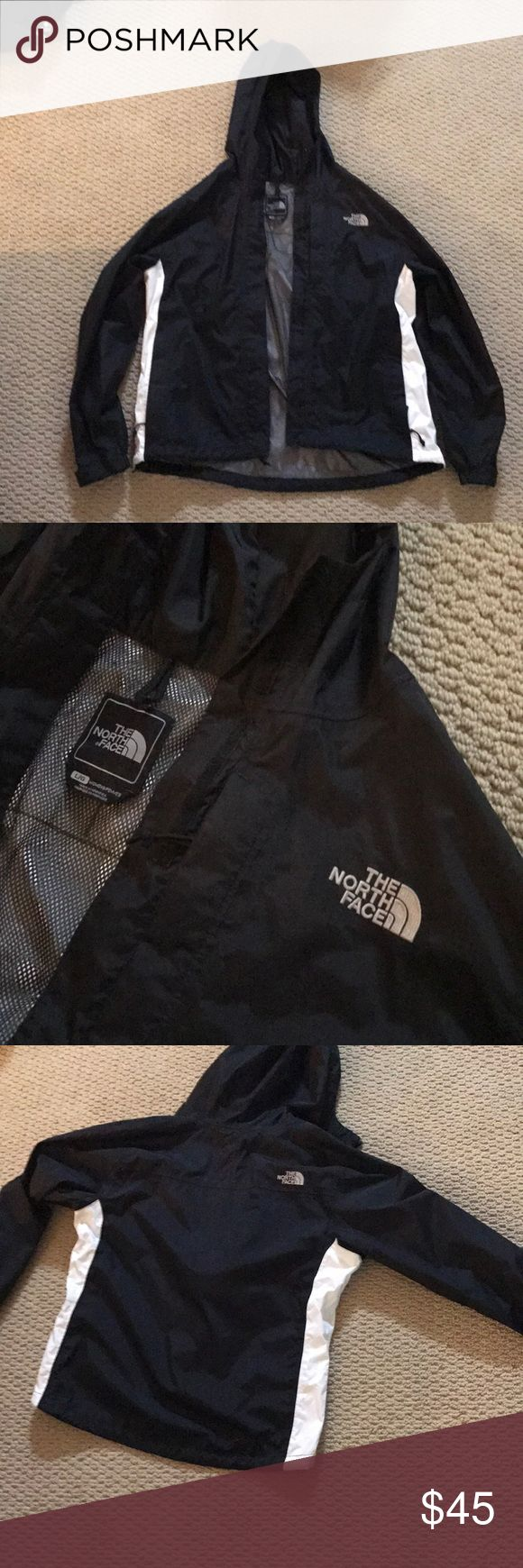Women's North Face rain jacket L Black/white women's rain jacket, size large, black and white two side pockets and one chest pocket hooded, zip up, water proof, mesh interior North Face Jackets & Coats