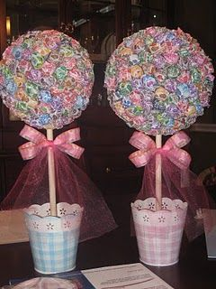 I can TOTALLY make those lollipop trees! I can even add the cellophane & curling ribbon just like we did for John's retirement party