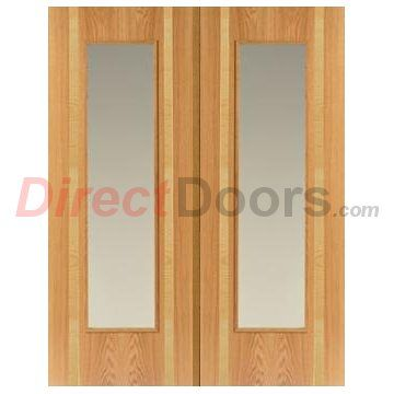 Image of JBK Rhodesia Oak & Ash Door Pair with Clear Safety Glass, Pre-Finished