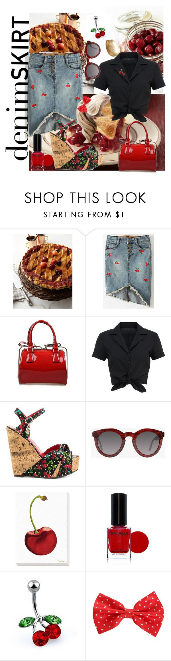 """""""Sweet Denim Skirt"""" by shelley-harcar ❤ liked on Polyvore featuring Sweet Lady Jane, Hallhuber, Iron Fist, Crap, Grandin Road, BARIELLE, Bling Jewelry, Hot Topic and denimskirt"""