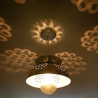 kitchen: Lights, Ideas, Craft, Lighting, Kitchen, Light Fixture, Colander Light, Diy, Colander Lamp