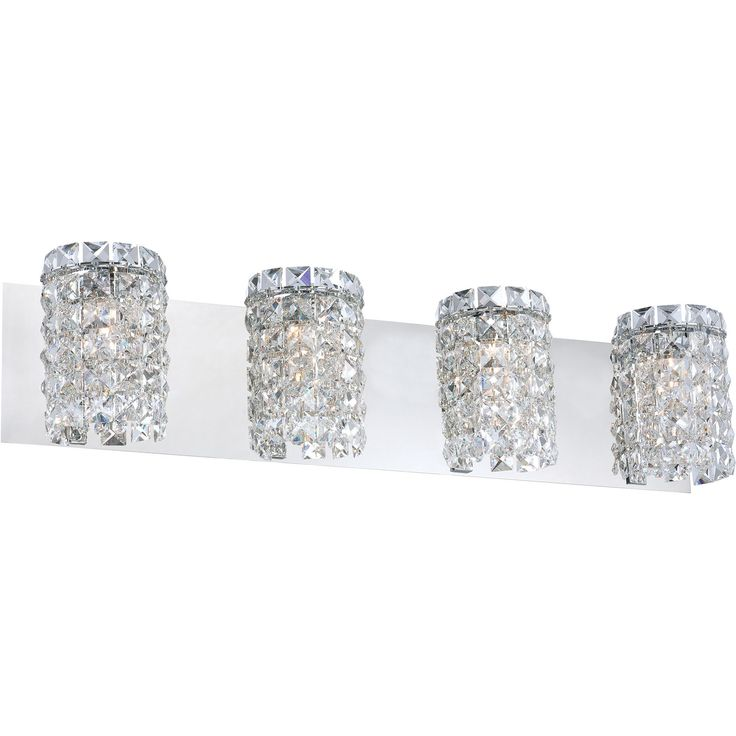 Queen 4-Light Vanity Light in Chrome and Clear Crystal Glass | Alico Lighting | Home Gallery Stores