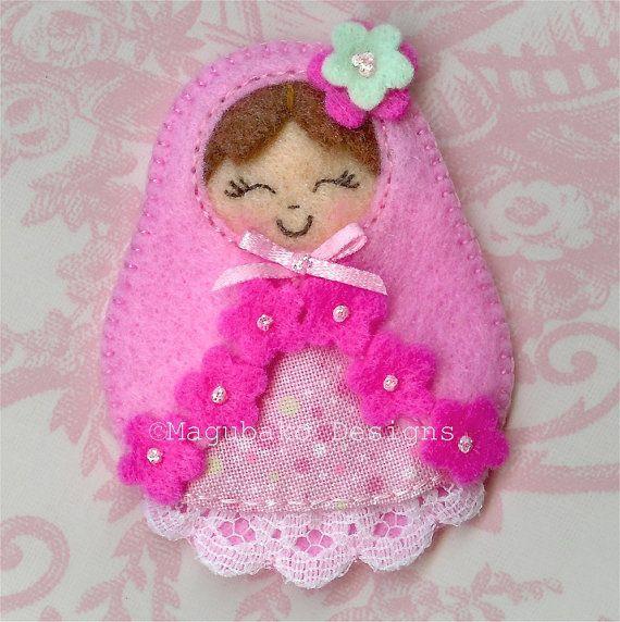 Felt Matryoshka Russian Doll Hair Pin