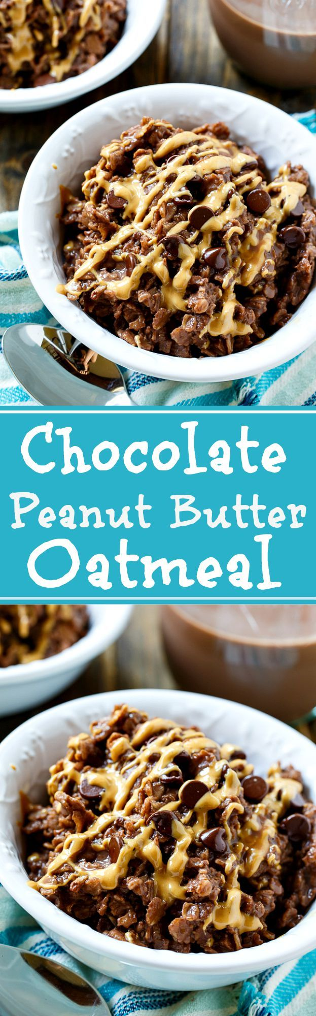 Chocolate-Peanut Butter Oatmeal- only 4 ingredients and 5 minutes needed to make this oatmeal. The chocolate comes form cooking the oatmeal in Silk Chocolate Cashewmilk #ad