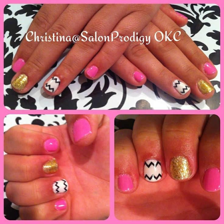 50 best nail designs by me images on pinterest nail designs pink chevron nail design with glitter prinsesfo Image collections