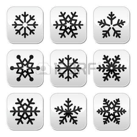 Snowflake winter vector buttons set