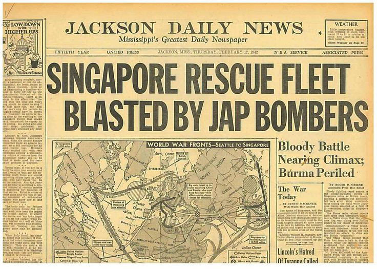 Fall of Singapore Worst Disaster in British Military History FEB 12 1942  B10