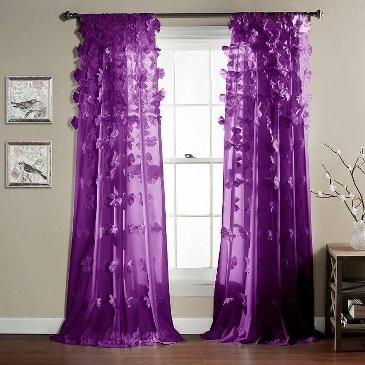 Lush Decor Riley Curtain Panel Bright Purple Window