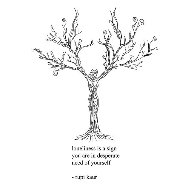 loneliness is a sign you are in desperate need of yourself -rupi kaur