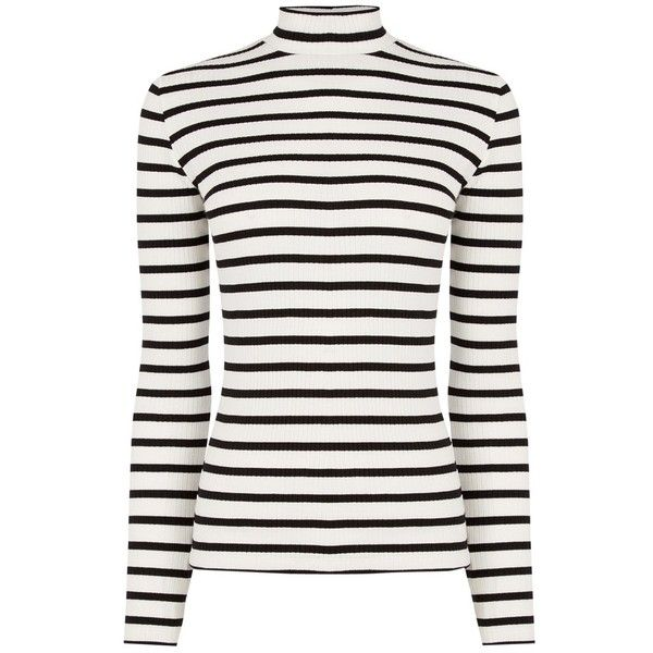 Oasis Skinny Stripe Rib Polo Neck Jumper, Black/White ($14) ❤ liked on Polyvore featuring tops, sweaters, jumpers, shirts, black and white long sleeve shirt, long sleeve tops, black and white striped sweater, striped sweater and striped long sleeve shirt
