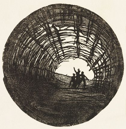Design for a stage scene in King Lear, by Edward Gordon Craig (1872-1966). Print. Europe, 1908.