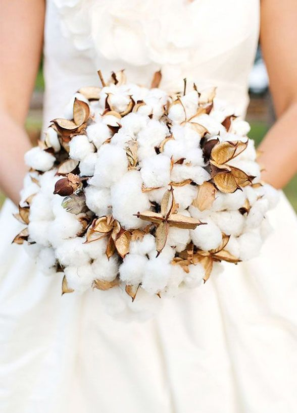 A bouquet of cotton resembles light and fluffy snow making it perfect for a winter wedding.