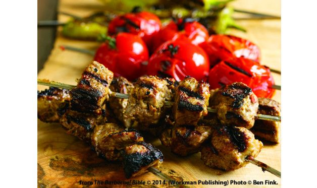 Contrary to American versions of the dish, Turkish shish kebab rarely comes with vegetables on the same skewer as the meat. Recipe by Steven Raichlen.