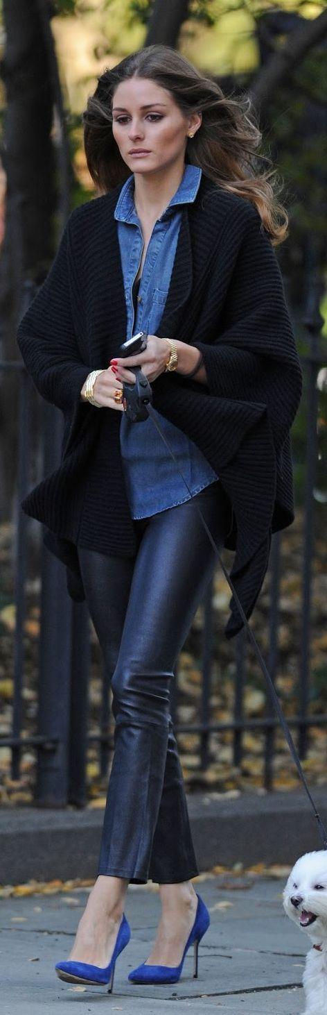 Shop this look on Lookastic: https://lookastic.com/women/looks/kimono-denim-shirt-skinny-pants-pumps-watch-bracelet/13453 — Blue Denim Shirt — Gold Watch — Gold Bracelet — Black Leather Skinny Pants — Blue Suede Pumps — Black Knit Kimono
