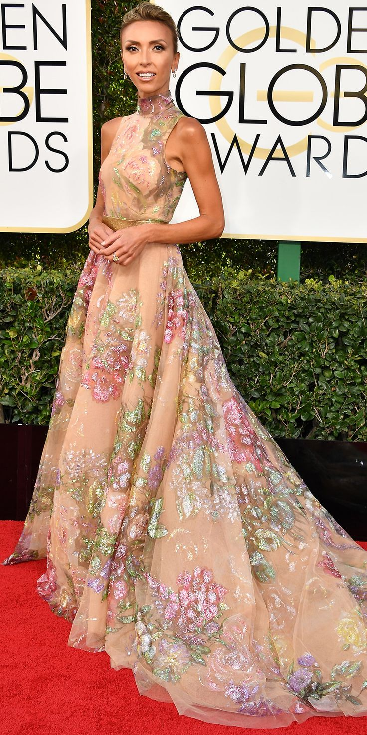 All the Glamorous Looks from the 2017 Golden Globes Red Carpet - Giuliana Rancic from InStyle.com