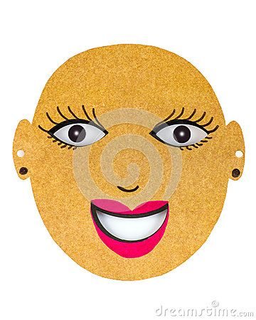 A closeup of a colourful cut out smiling mask