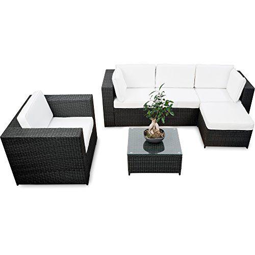 erweiterbares 18tlg. Lounge Set Polyrattan kaufen - schwarz ...