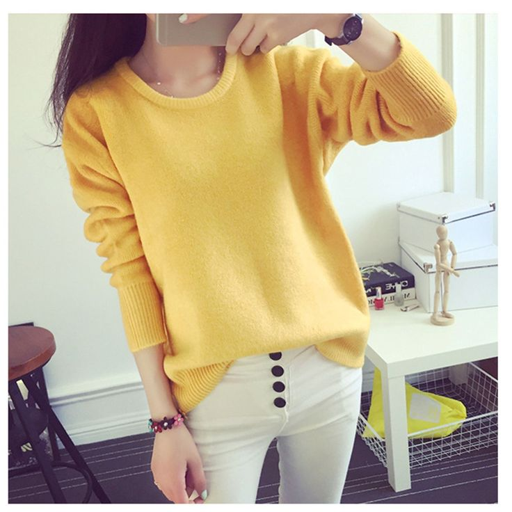 Pullover 2016  Women Autumn  Shirt Student For Ladies Cashmere Sweaters Blouses Tide Plus Size Jumper One Size LUCKY