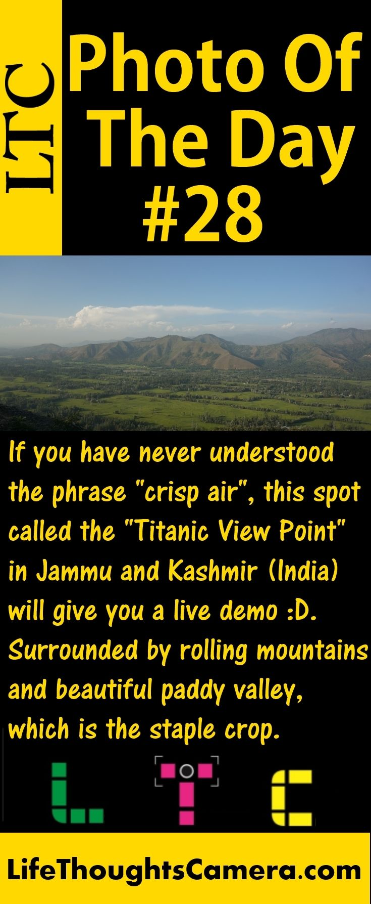 "Photo Of The Day #28.  If you have never understood the phrase ""Crisp Air"", this spot called the ""Titanic View Point"" in Jammu and Kashmir (India) will give you a live demo.  Surrounded by rolling mountains and beautiful paddy valley, which is the staple crop. #LifeThoughtsCamera #PhotoBlog #Travel #India #JammuAndKashmir #TitanicViewPoint #Bengaluru #Karnataka #INDIA #BengaluruBlogger #BengaluruPhotoBlogger #IndianBlogger #IndianPhotoBlogger #Nex5R #LifeStyle #LifeStyleBlogger…"