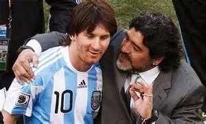 Diego DT con Messi en Copa Mundial Sudafrica 2010
