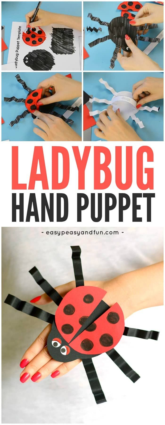 Cute Printable Ladybug Hand Puppet Template Craft for Kids