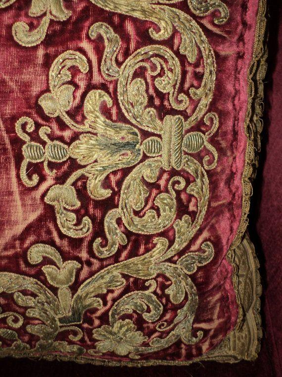 18th C Silk Velvet Stumpwork Embroidered Metallic от DibellaLuce