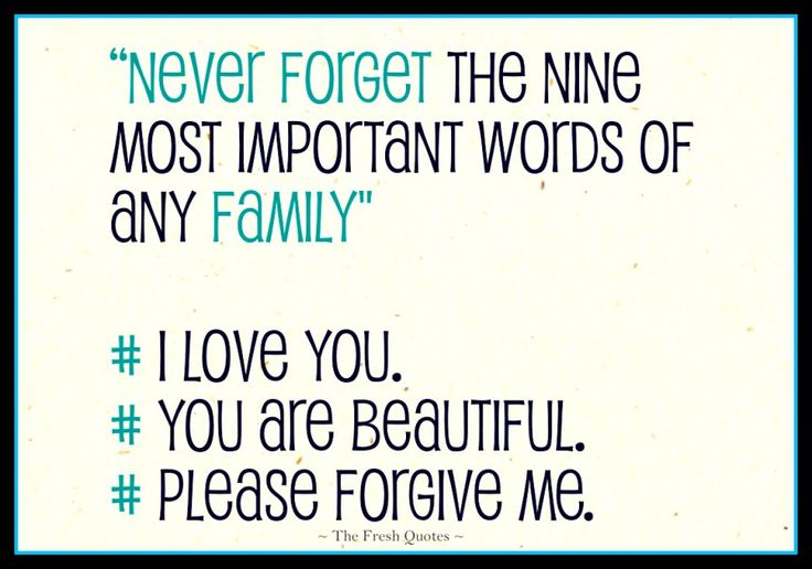 """Apology Quotes - Im Sorry Quotes """"Never forget the nine most important words of any family- I love you"""