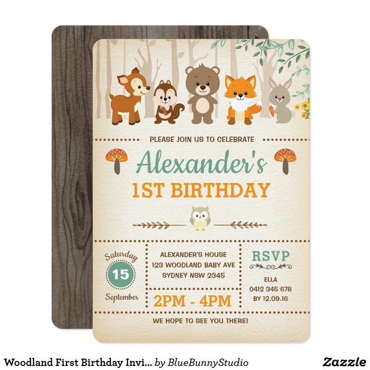 De 19078 bedste billeder fra happy birthday invitations and woodland first birthday invitation forest animals stopboris Image collections