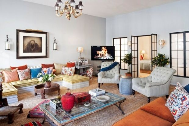 "La Vie Boheme: Boho Chic to Dig | California Home + Design - This is one way to solve that ""Not enough seating"" problem"