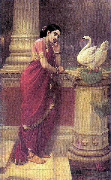 Damayanti sending a message to Nala via a swan- Raja Ravi Varma