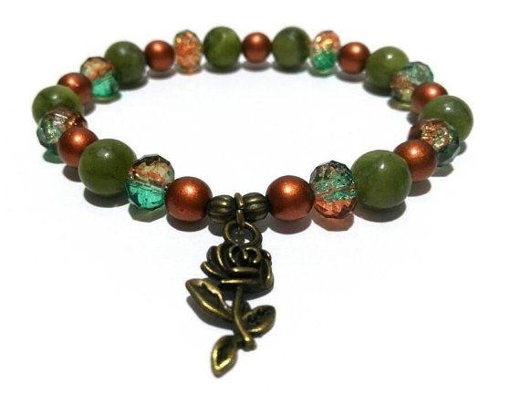 Rose Flower Charm Bracelet Gemstone Healing by LotusandStone