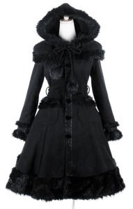 Black gothic lolita coat fake fur big hood http://www.restyle.pl/product-eng-880-Pyon-Pyon-LY-024-Black-gothic-lolita-coat-fake-fur-big-hood.html
