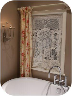 Doily curtain for bathroom