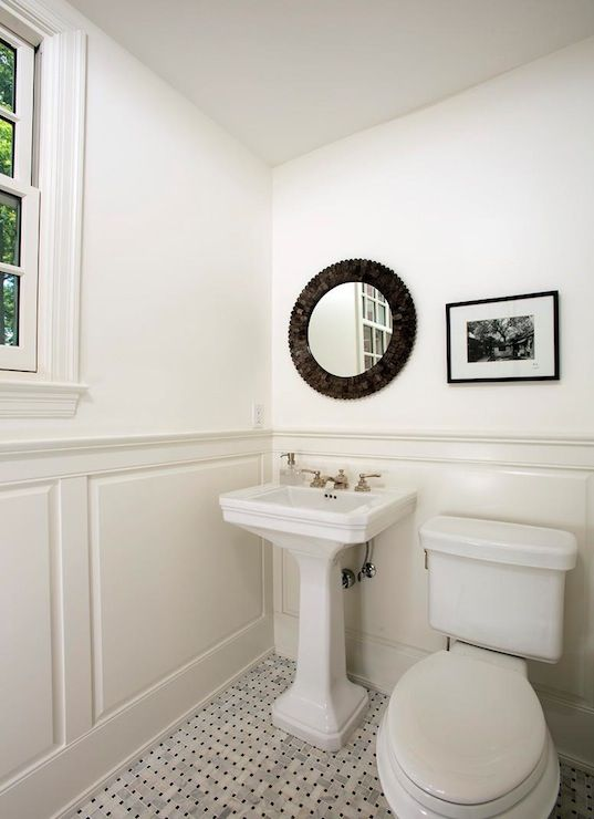 four brothers llc monochromatic bathroom with wainscoting. Black Bedroom Furniture Sets. Home Design Ideas