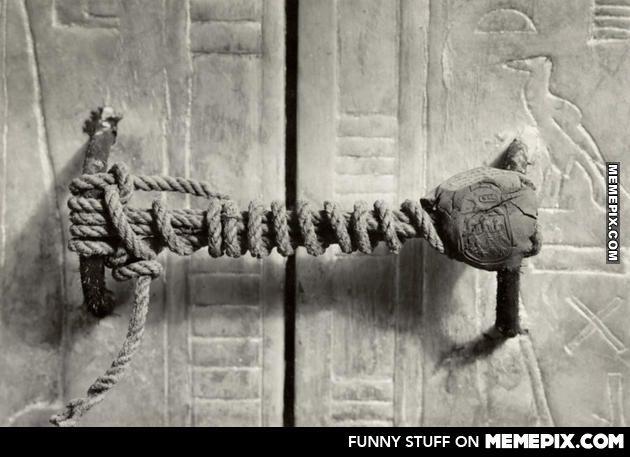 The unbroken seal on Tutankhamun's tomb 1922. 3,245 years untouched.