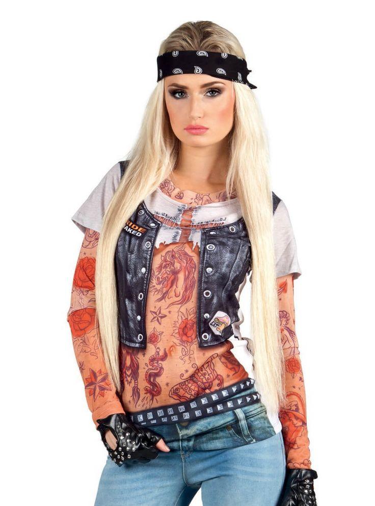 Disfraz camiseta de motera tatuajes para mujer