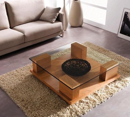 Mesa centro de madera y cristal