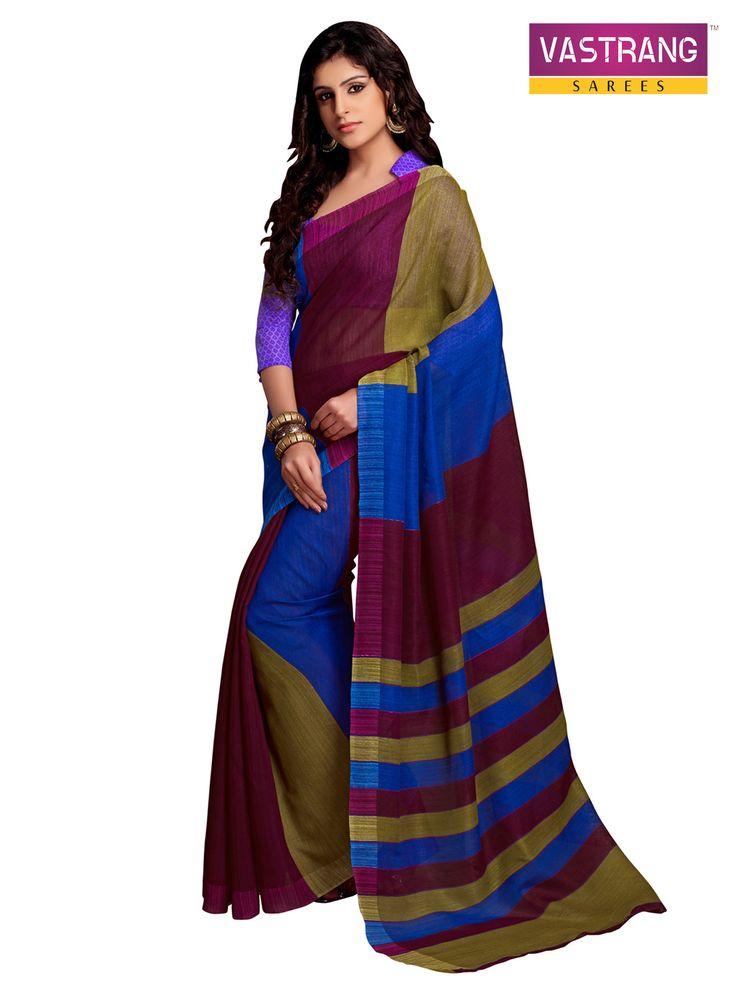 Blue,purple,Beige #Printed Art #Silk Saree With #Blouse Piece