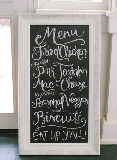Southern menu | Chelsey Boatwright #wedding