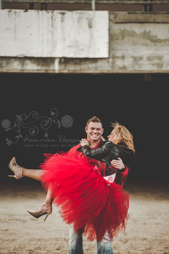 Red tulle Skirt  ! love is buring