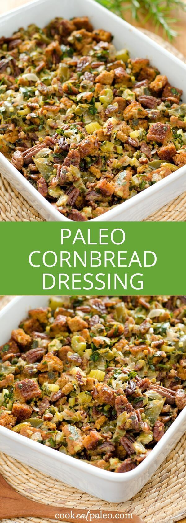 Gluten-free stuffing - this paleo cornbread dressing recipe is grain-free, but full of traditional Thanksgiving holiday flavors. via /cookeatpaleo/