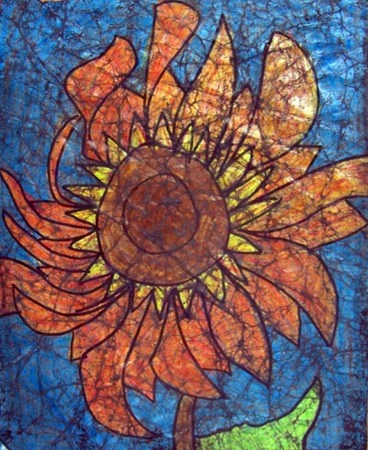 Third grade students observed and drew sunflowers in a composition that filled the space of their paper. Then, they applied layers of crayon, coloring heavily and blending colors. After wrinkling their paper to crack the wax, they applied paint and then rinsed it off to create a batik-like effect. Beautiful!