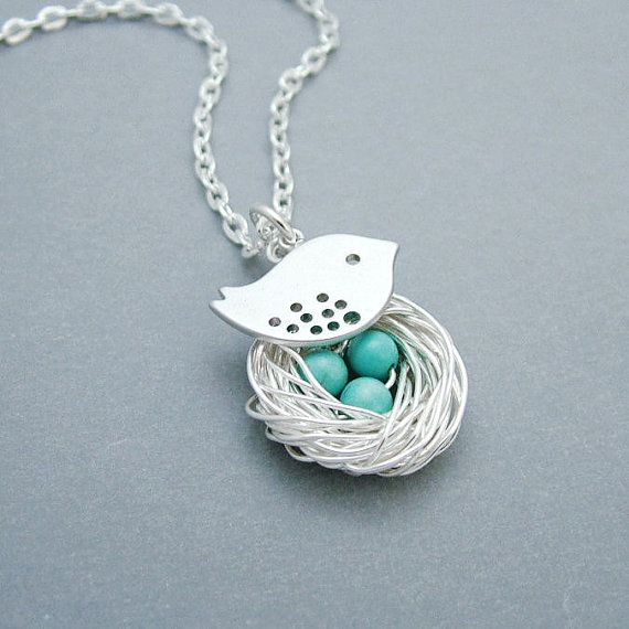 Silver Bird Nest Necklace with Turquoise by