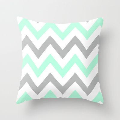 MINT & GRAY CHEVRON Throw Pillow by nataliesales - $20.00