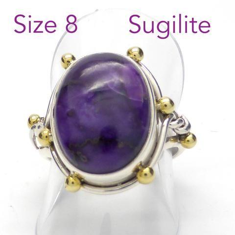 Ring Sugilite Oval Cabochon | Size 8 | 925 Silver Silver & Brass |  Manifest Spiritual Vision | Steampunk Design | Crystal Heart Melbourne Australia since 1986