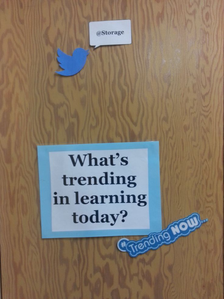 """Middle School Classroom Bulletin Board OR Closet Decoration: """"What's Trending in Learning Today?"""" (Technology Twitter Theme)"""