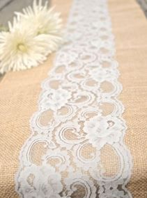 White tablecloth, light pink/blush runner with lace runner (like this one) on top ... pretty!