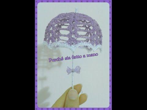 Ombrellino all'Uncinetto (BOMBONIERA) - Crochet Umbrella (Party Favor) - YouTube
